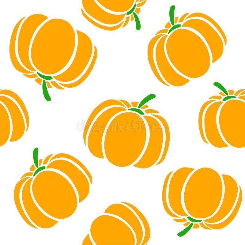 在白色背景的动画片南瓜 简单的传染媒介背景逗人喜爱的秋天样式无缝的纺织品 的贺卡的设计 皇族释放例证