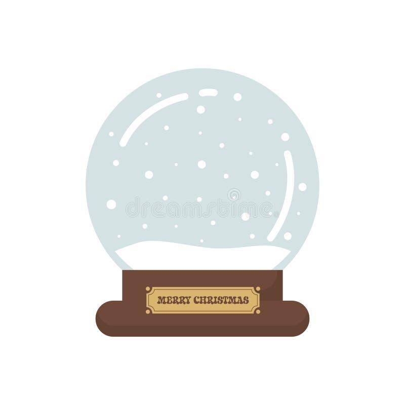在白色背景的动画片逗人喜爱的圣诞节snowglobe 库存例证