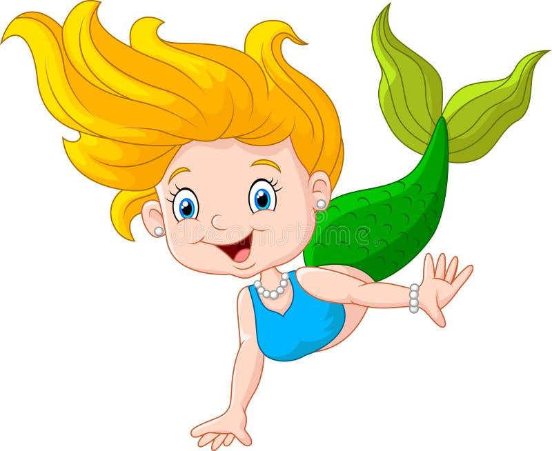 在白色背景的动画片愉快的小的美人鱼 库存例证