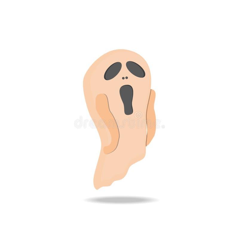 在白色背景的动画片逗人喜爱的鬼魂 库存例证