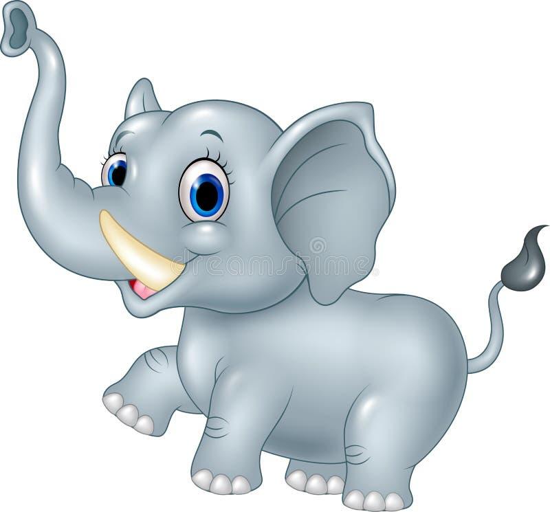在白色背景的动画片滑稽的婴孩大象 皇族释放例证