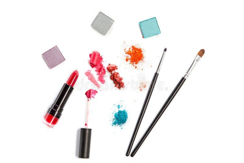 在白色背景的化妆用品 库存图片