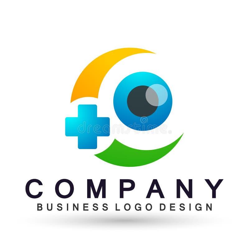 在白色背景的医疗眼睛关心地球家庭健康概念商标象元素标志 皇族释放例证