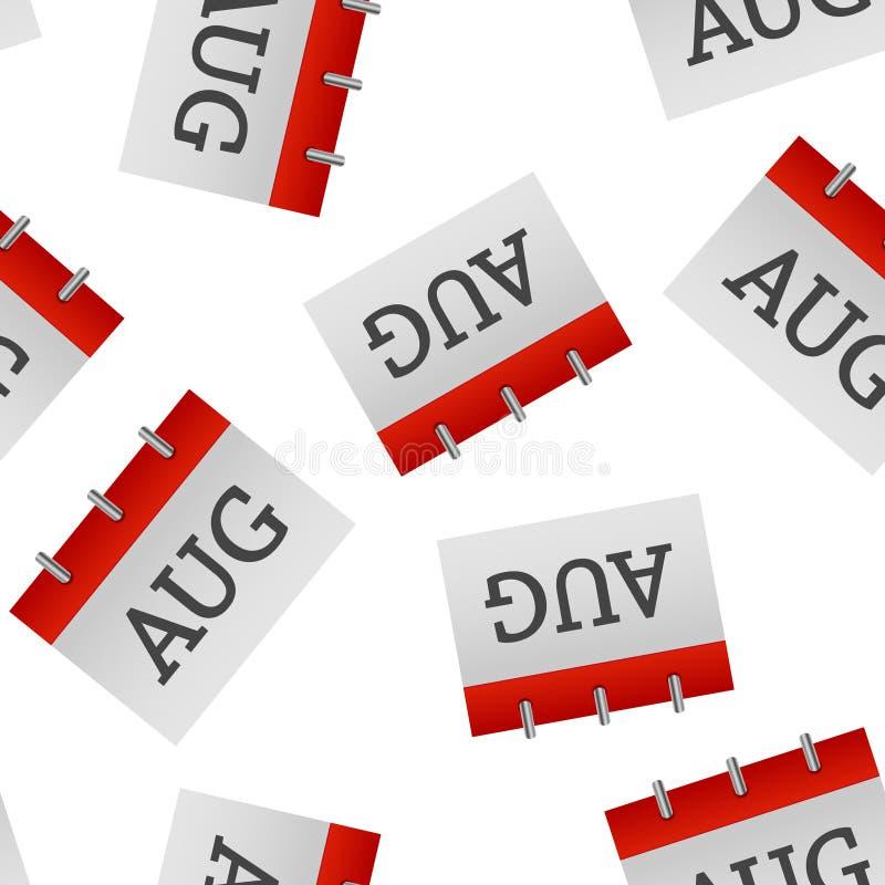 在白色背景的历月8月象无缝的样式 皇族释放例证
