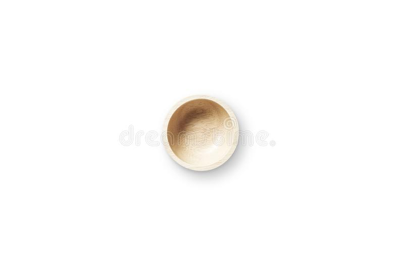 在白色背景的厨具木碗孤立 免版税库存照片
