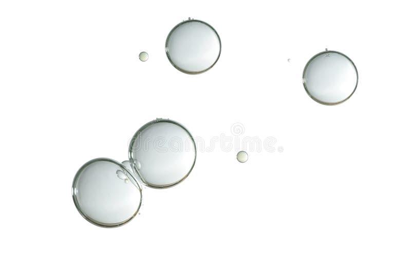 在白色背景的发光的灰色泡影 库存图片