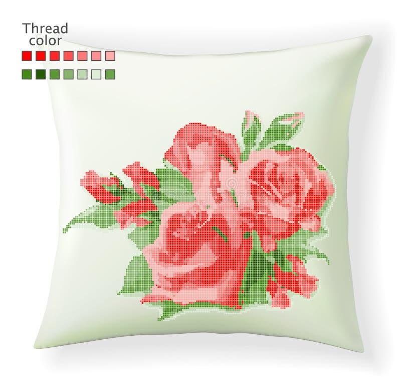 在白色背景的发怒针红色玫瑰 刺绣或针线的传染媒介样式 现代纹身花刺 皇族释放例证