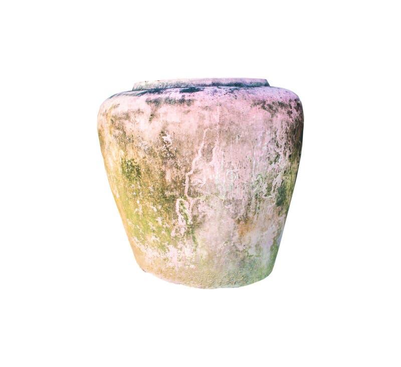 在白色背景的古老罐,适用于装饰 库存照片
