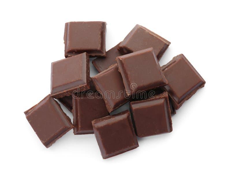 在白色背景的可口黑巧克力 库存图片