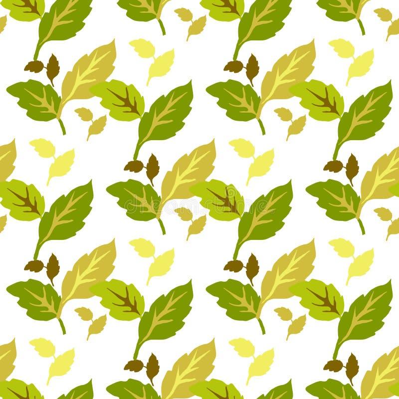 黄绿在白色背景的叶子无缝的样式 免版税库存图片