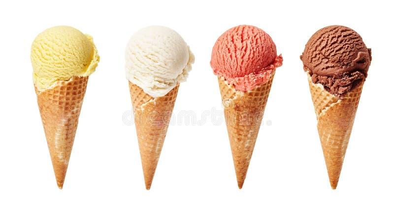 在白色背景的各种各样的冰淇凌瓢 免版税库存照片