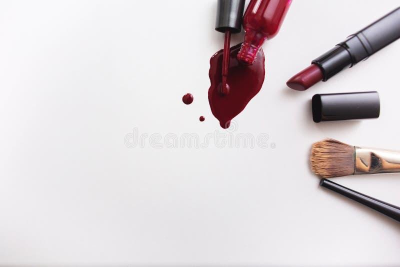 在白色背景的各种各样的化妆用品 在文本的一旁边spase 免版税库存图片