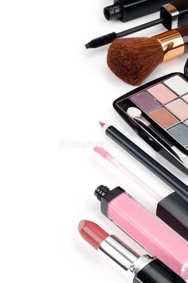 各种各样的化妆用品 图库摄影