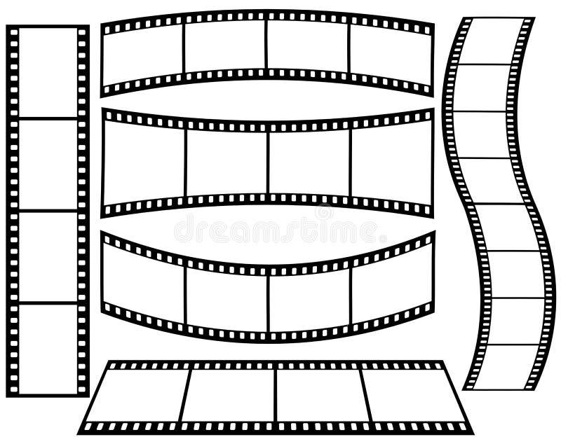 在白色背景的各种各样的形状的影片小条 图库摄影