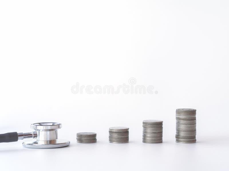 在白色背景的听诊器和硬币堆 医疗保健的,经济援助,概念金钱 免版税库存照片