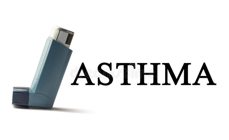 在白色背景的吸入器与词哮喘 呼吸道疾病的治疗 世界哮喘天 库存图片