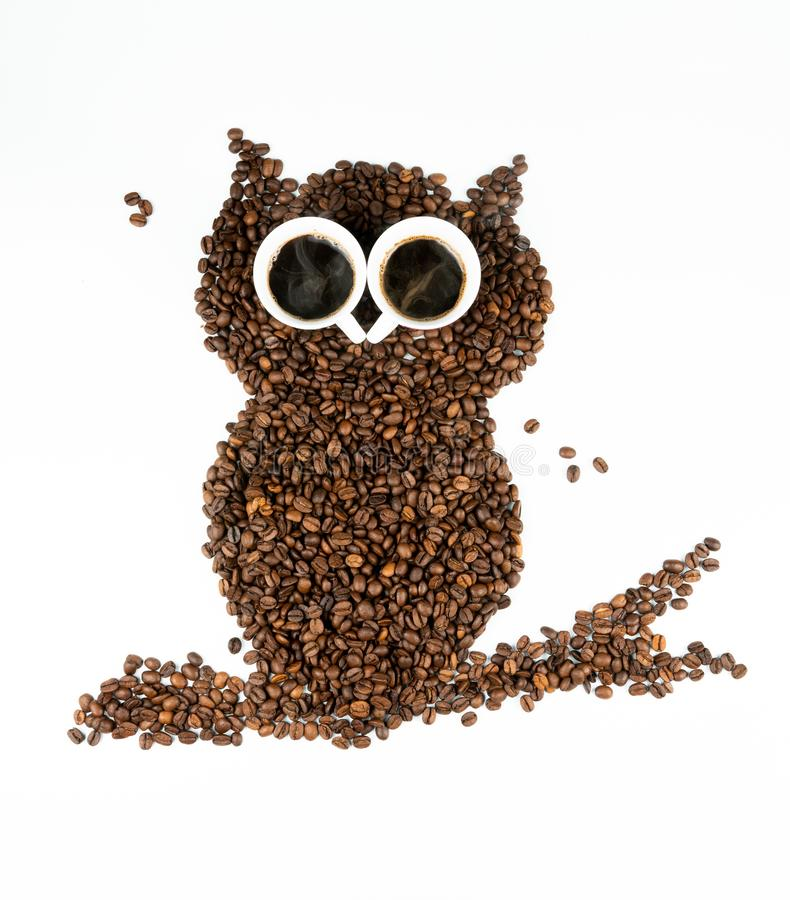 在白色背景的咖啡猫头鹰 免版税库存图片