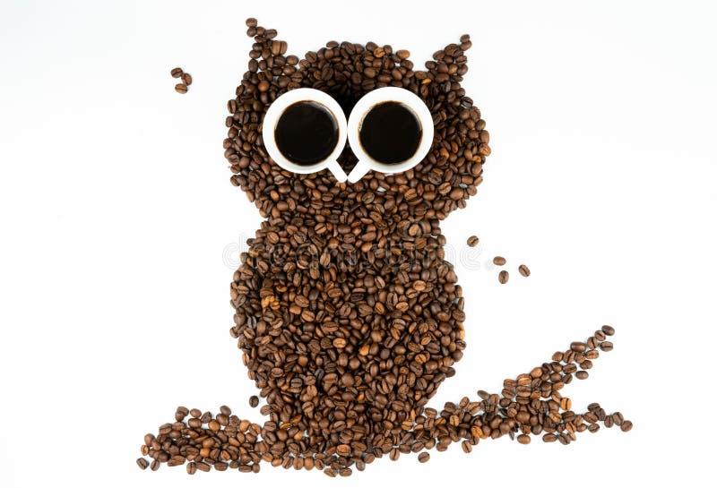 在白色背景的咖啡猫头鹰 免版税图库摄影