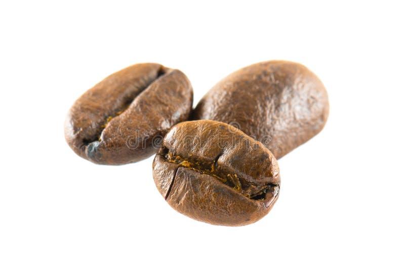 在白色背景的咖啡豆孤立 免版税库存照片