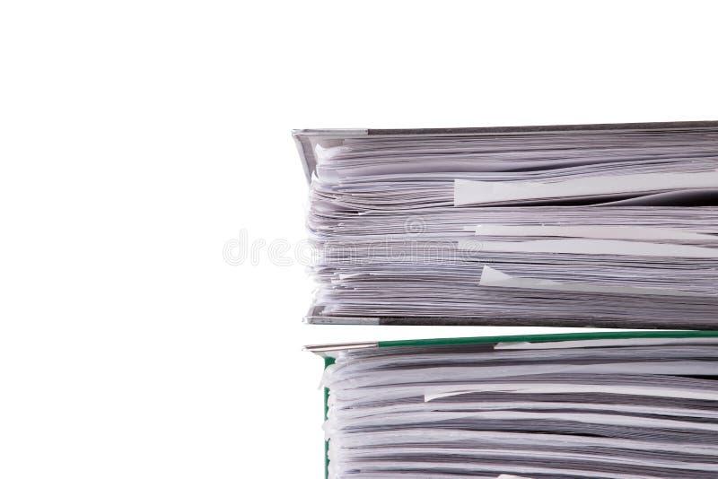 在白色背景的商业文件特写镜头 库存照片