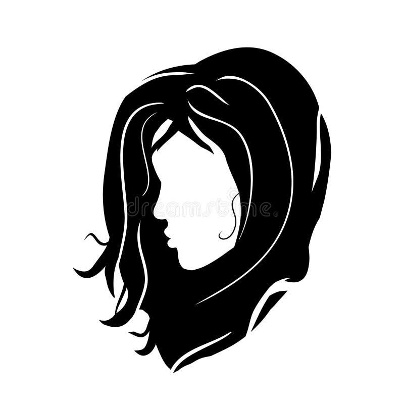 在白色背景的商标女孩模型深色的头-现出轮廓理发传染媒介时髦的手拉的图表画象 向量例证