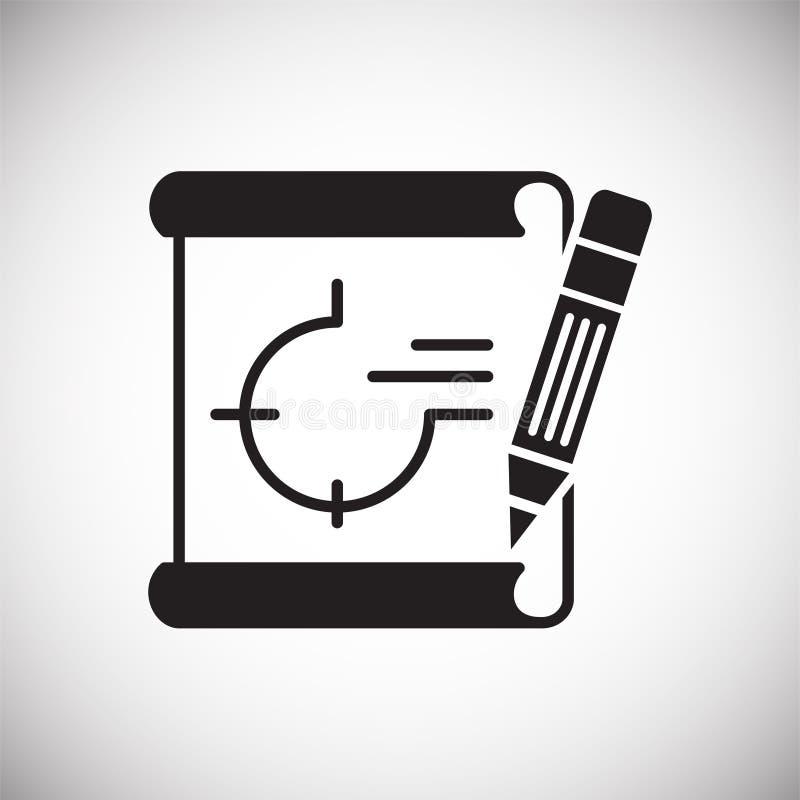 在白色背景的图纸象图表和网络设计的,现代简单的传染媒介标志 背景蓝色颜色概念互联网 时髦标志为 库存例证