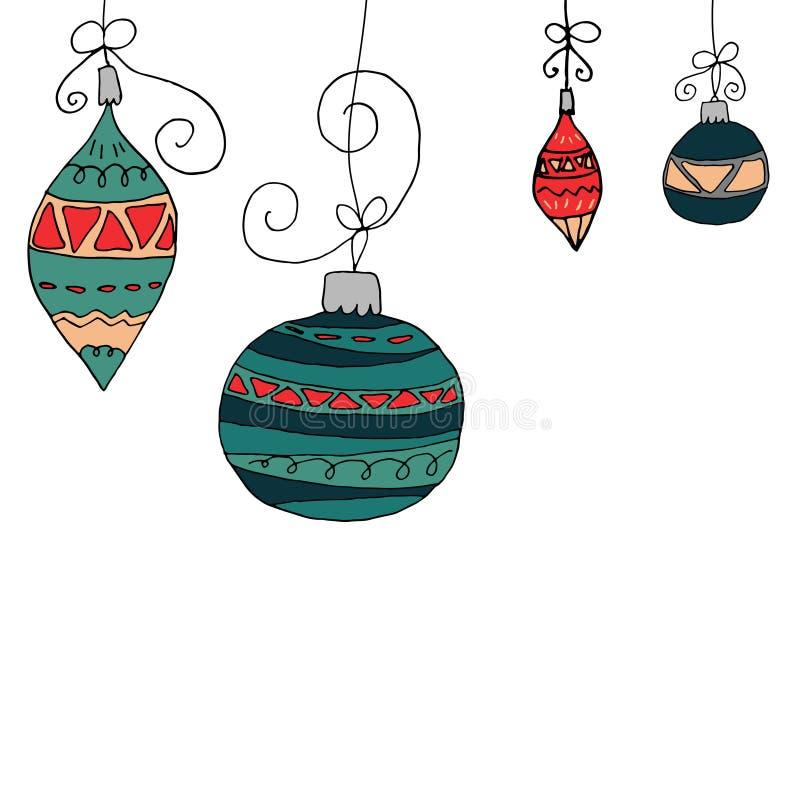 在白色背景的圣诞树球 与装饰品的球在手中被画的逗人喜爱的样式 皇族释放例证