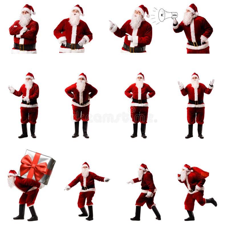 在白色背景的圣诞老人条目 免版税图库摄影