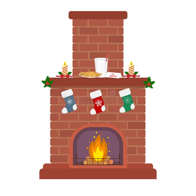 在白色背景的圣诞节壁炉 蜡烛、牛奶和饼干圣诞老人的 礼物的袜子 新年和快活 皇族释放例证