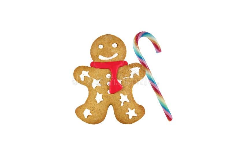 在白色背景的圣诞节姜饼 库存图片
