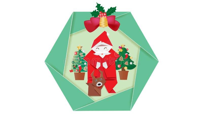 在白色背景的圣诞节花圈 向量例证