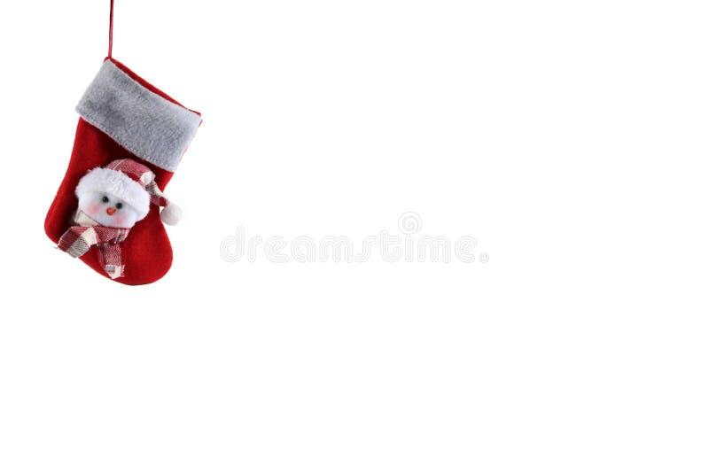在白色背景的圣诞节长袜 免版税库存图片