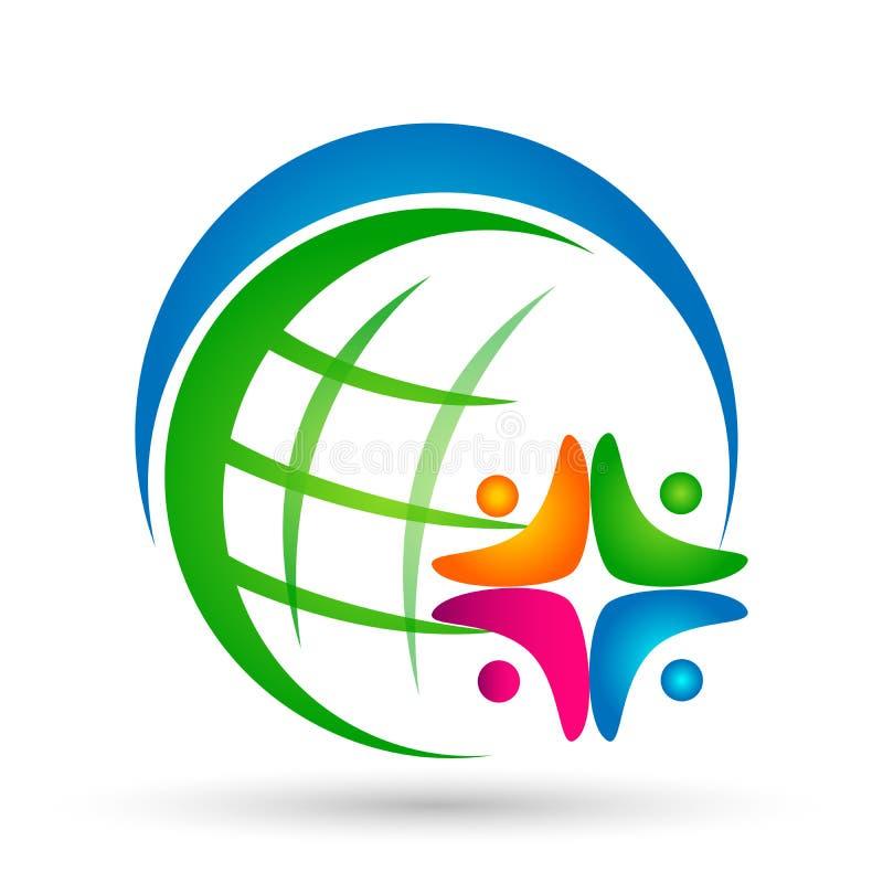 在白色背景的地球世界人联合团队工作健康社会一起社区商标象元素传染媒介 皇族释放例证