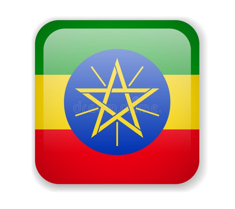 在白色背景的埃塞俄比亚旗子明亮的方形的象 库存例证