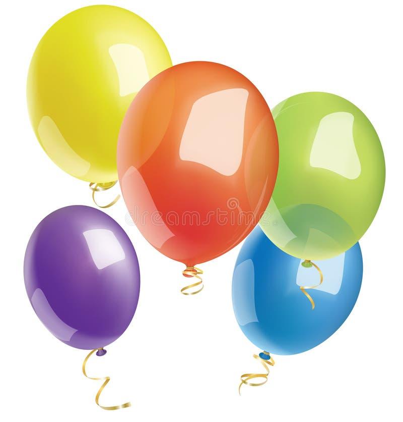 在白色背景的多彩多姿的明亮的气球 免版税库存照片