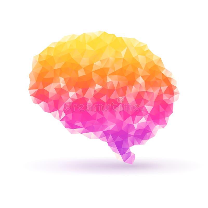 在白色背景的多角形人脑与 库存例证