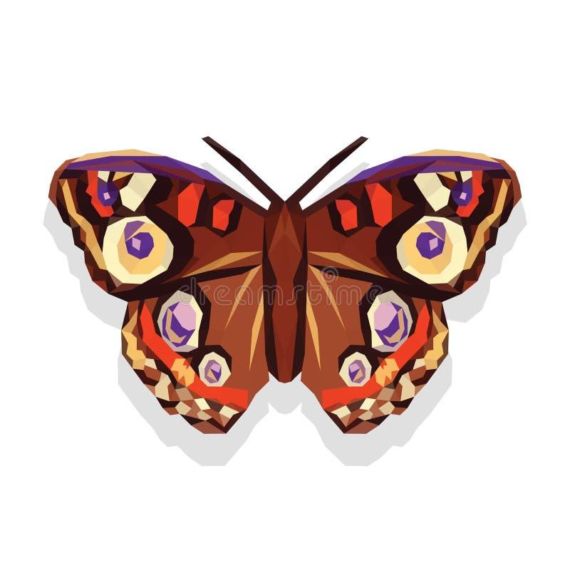 在白色背景的多角形和大美丽的蝴蝶 库存例证