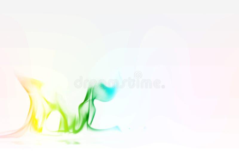 在白色背景的多颜色火火焰摘要 一股神秘的五颜六色的烟 与种族分界线的模糊的明亮的抽象 魔术 免版税库存图片