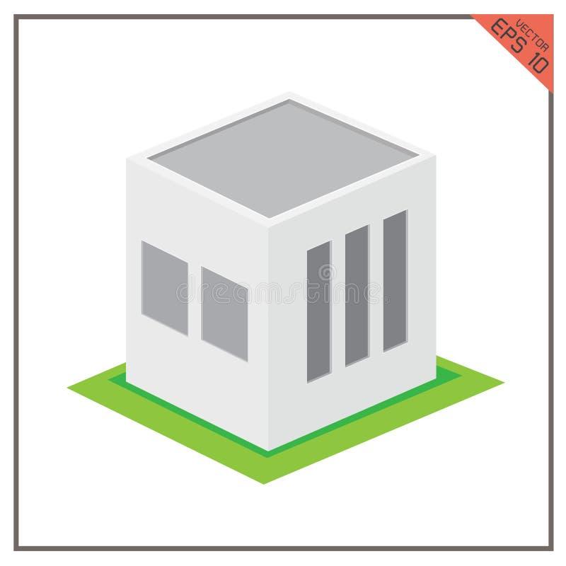 在白色背景的大厦传染媒介3d集合仓库象绿色 库存例证