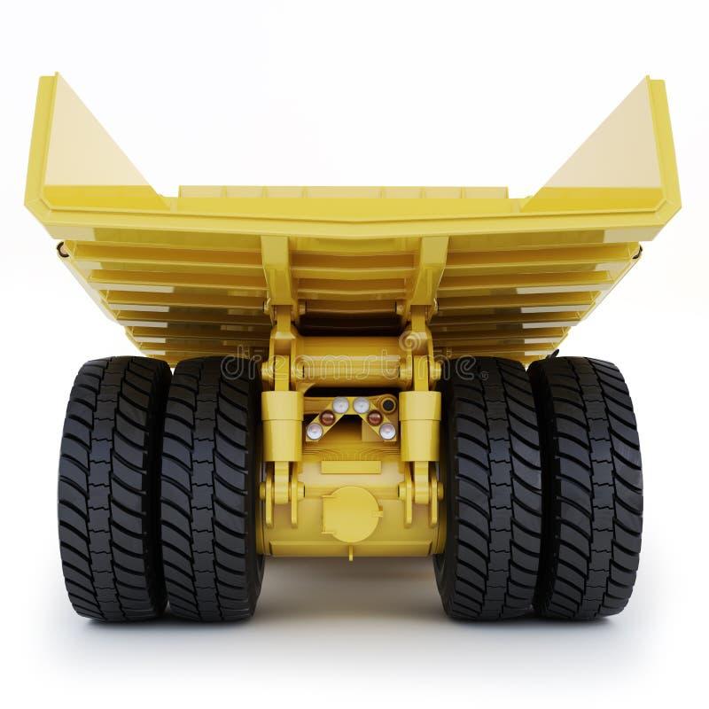 在白色背景的大工业采矿翻斗车背面图 库存例证