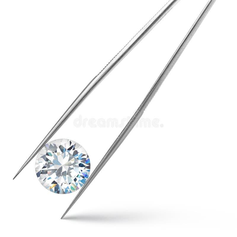 在白色背景的大金刚石在镊子 免版税库存照片