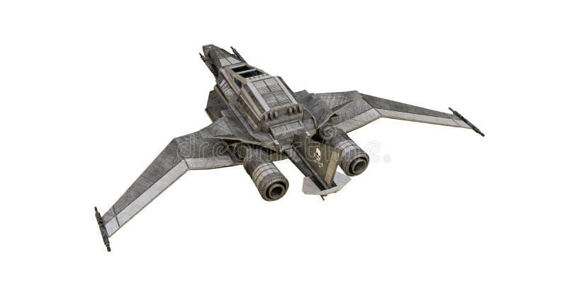 在白色背景的太空飞船战斗机 皇族释放例证