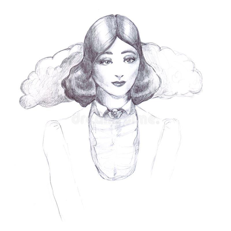 在白色背景的女孩减速火箭的葡萄酒铅笔剪影概述古板的衣领装饰衣裙夹克老发型三十排行不适 库存例证