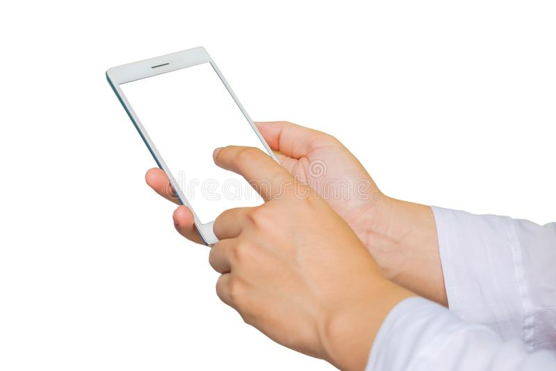 在白色背景的女性手藏品手机孤立 库存照片