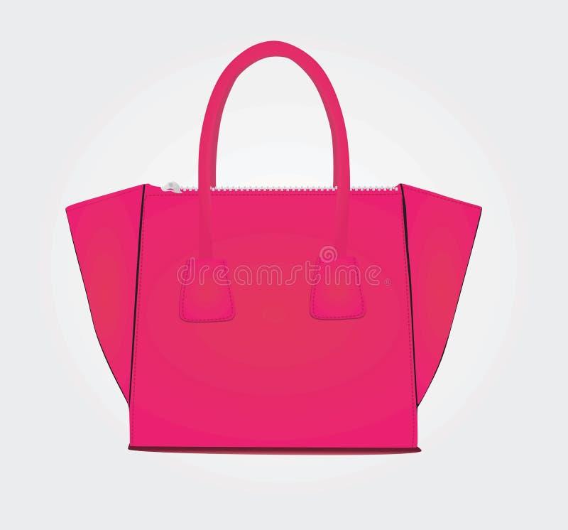 在白色背景的妇女桃红色袋子 向量例证