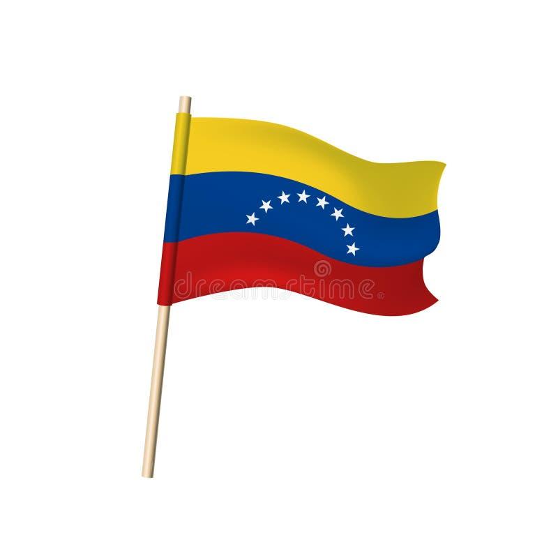 在白色背景的委内瑞拉旗子 库存例证