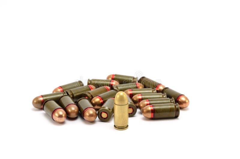 在白色背景的子弹 免版税图库摄影