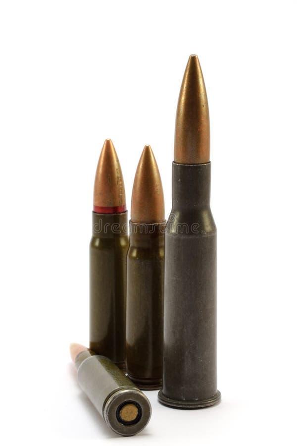 在白色背景的子弹 免版税库存图片