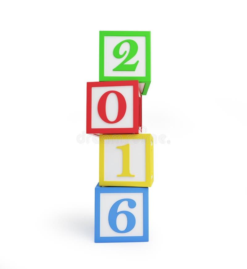 在白色背景的字母表箱子2016新年的 库存例证