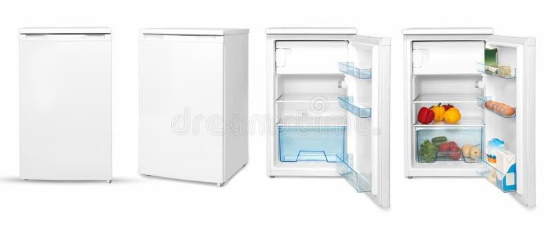 在白色背景的家庭冰箱 免版税库存照片